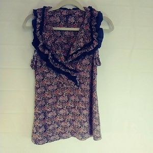One September Blue Floral Ruffle Blouse XL